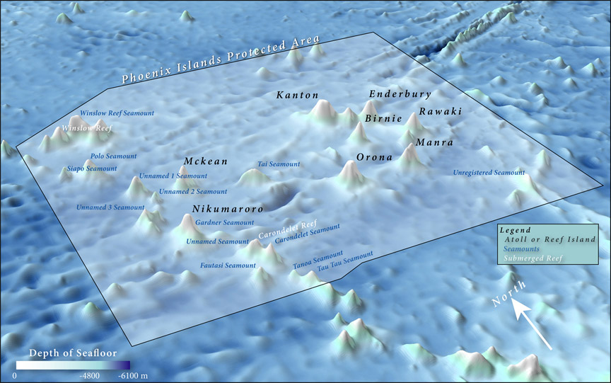 Map detailing the seamounts and submerged reefs located within the Phoenix Islands Protected Area