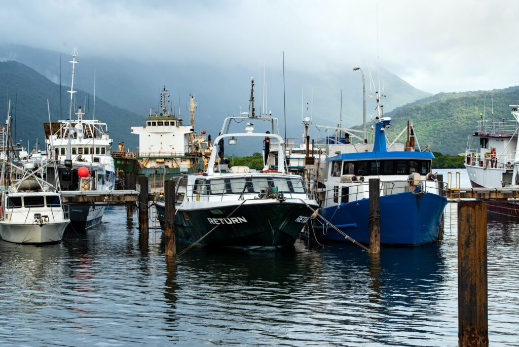 Australian fishing boats in harbour at Trinity Inlet, Queensland.