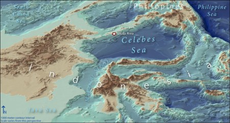 NOAA Ocean Explorer  2007  Exploring the Inner Space of the Celebes     3d map of expedition area