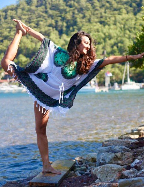 Green light cotton flow dress for the beach