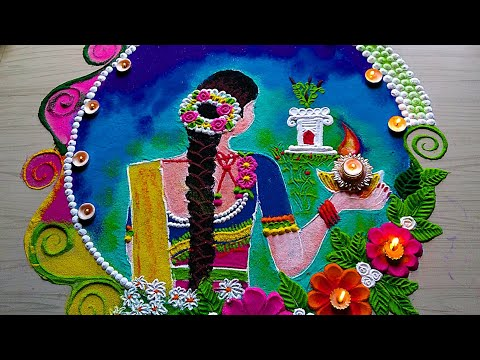 images for tulsi vivah rangoli