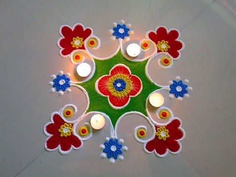 simple tulsi vivah rangoli design