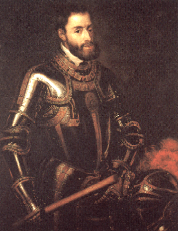 Carol V (şi Carol I al Spaniei) mpărat al Sfântului Imperiu Roman; rege al Castiliei, Aragonului, Neapolelui şi al Siciliei, Conte al Flandrei, Duce de Brabant, Duce al Milanului, Duce de Luxemburg, Duce de Burgundia