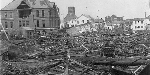 Library of Congress image of Galveston hurricane damage