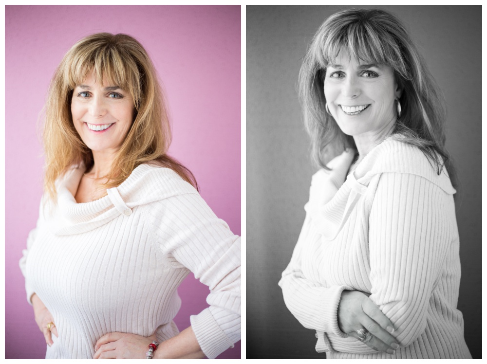 Headshots of a woman on a pink background