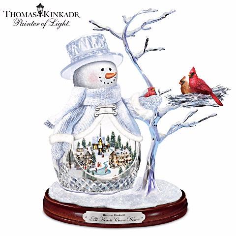 Thomas Kinkade All Hearts Come Home Crystal Snowman At Ocean Treasures
