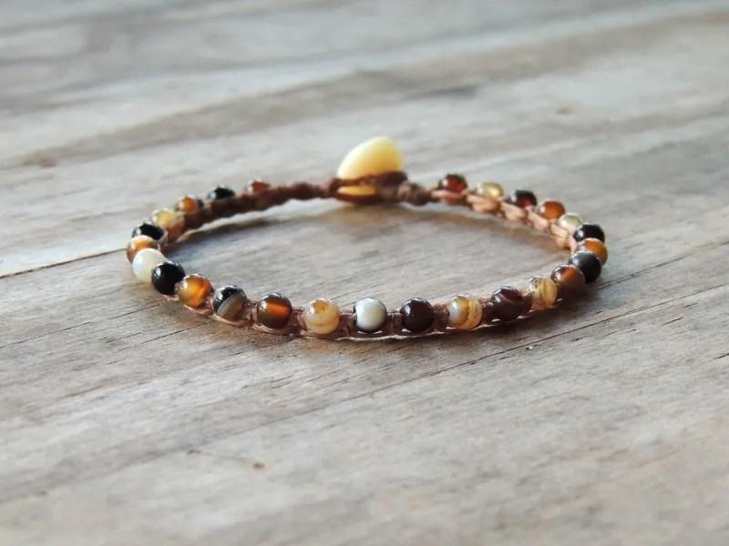 Ocean Tuff Jewelry - Coffee Striped Agate Gemstone Microweave Bracelet