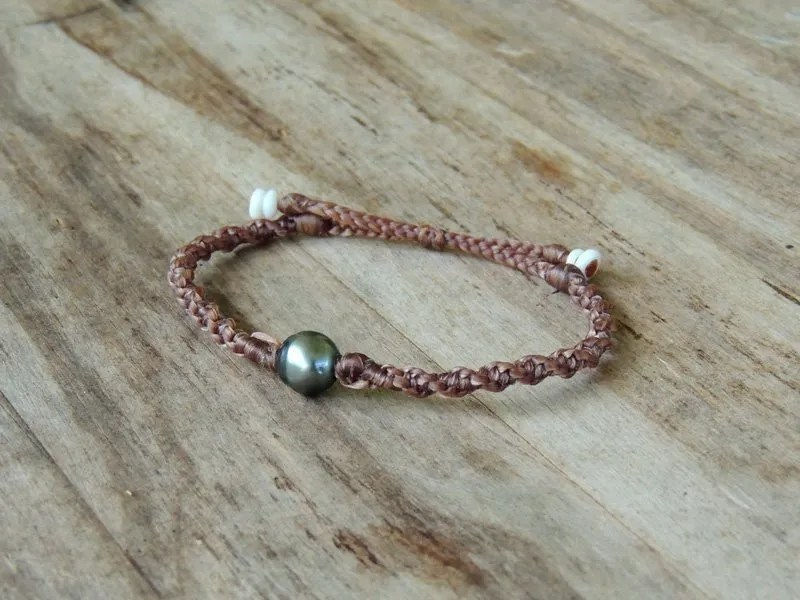 Ocean Tuff Jewelry - Single Tahitian Pearl Adjustable Bracelet