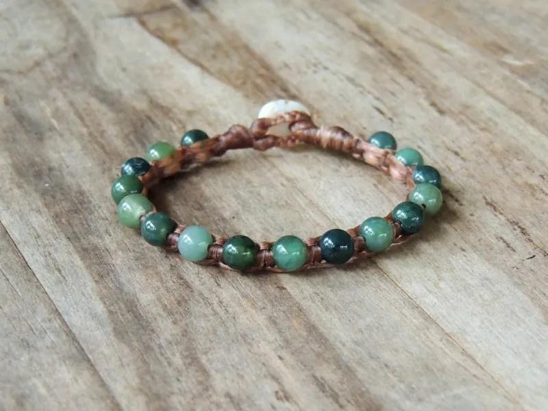 Ocean Tuff Jewelry - Green Moss Agate Gemstone Bracelet