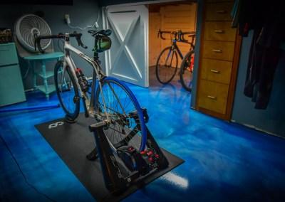 Reflector enhancer epoxy floor in Elite blue and sky blue.  Northwest epoxy contractor.