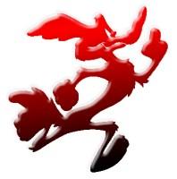 coyote corredor rojo y negro
