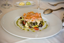 Salmon salad, appetizers at Aromas Yaiza Restaurant of Playa Blanca, Lanzarote