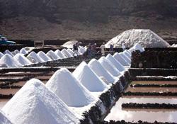 Proceso de producción de sal en Salinas de Janubio, Lanzarote