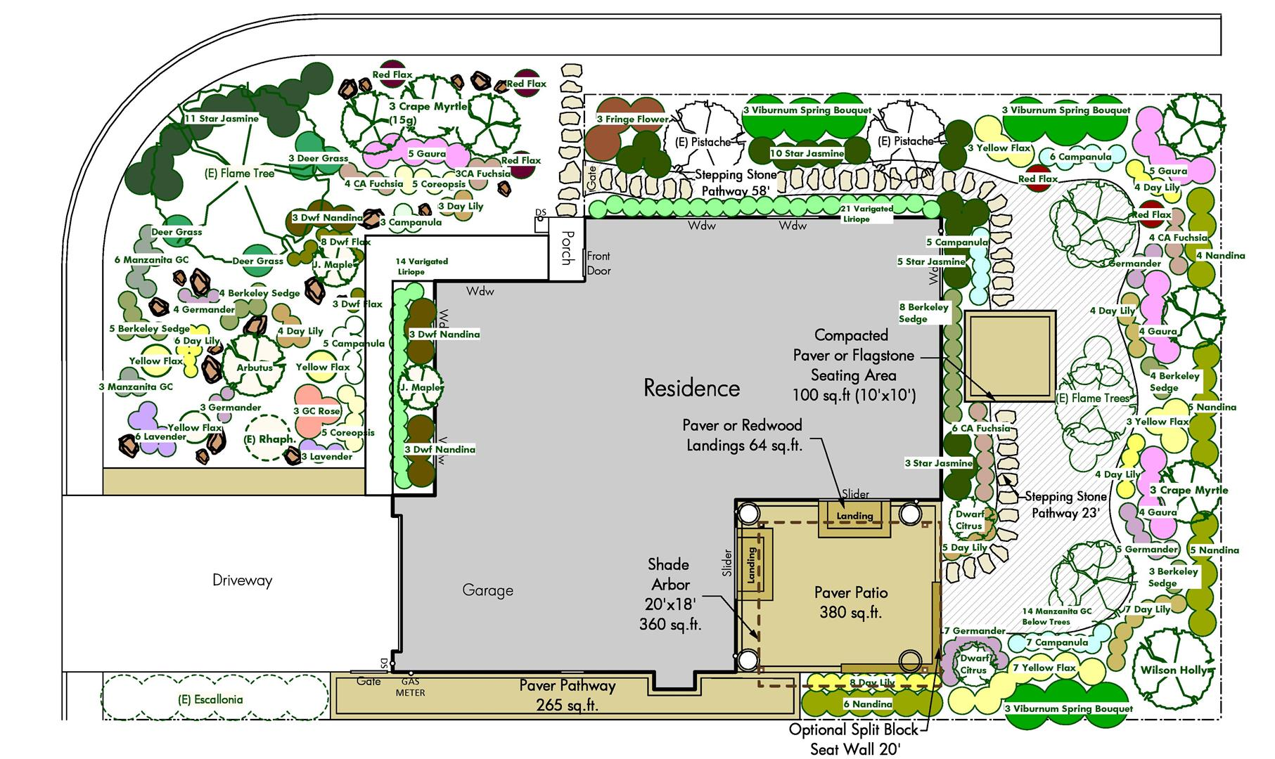 front and back yard planting plan layout for large corner lot new