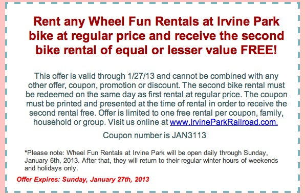 irvine park railroad coupon