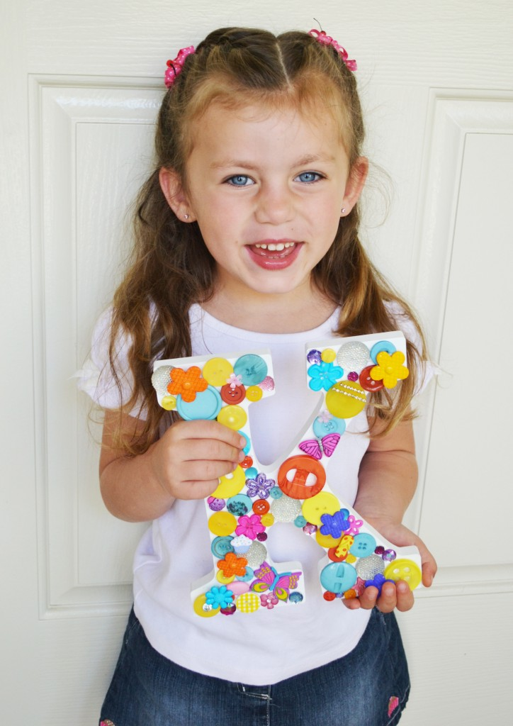Button letter craft project