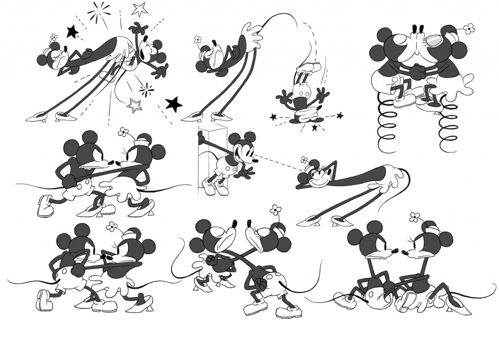"""GET A HORSE!"" Mickey Mouse and Minnie Mouse model sheet. ©2013 Disney. All Rights Reserved."