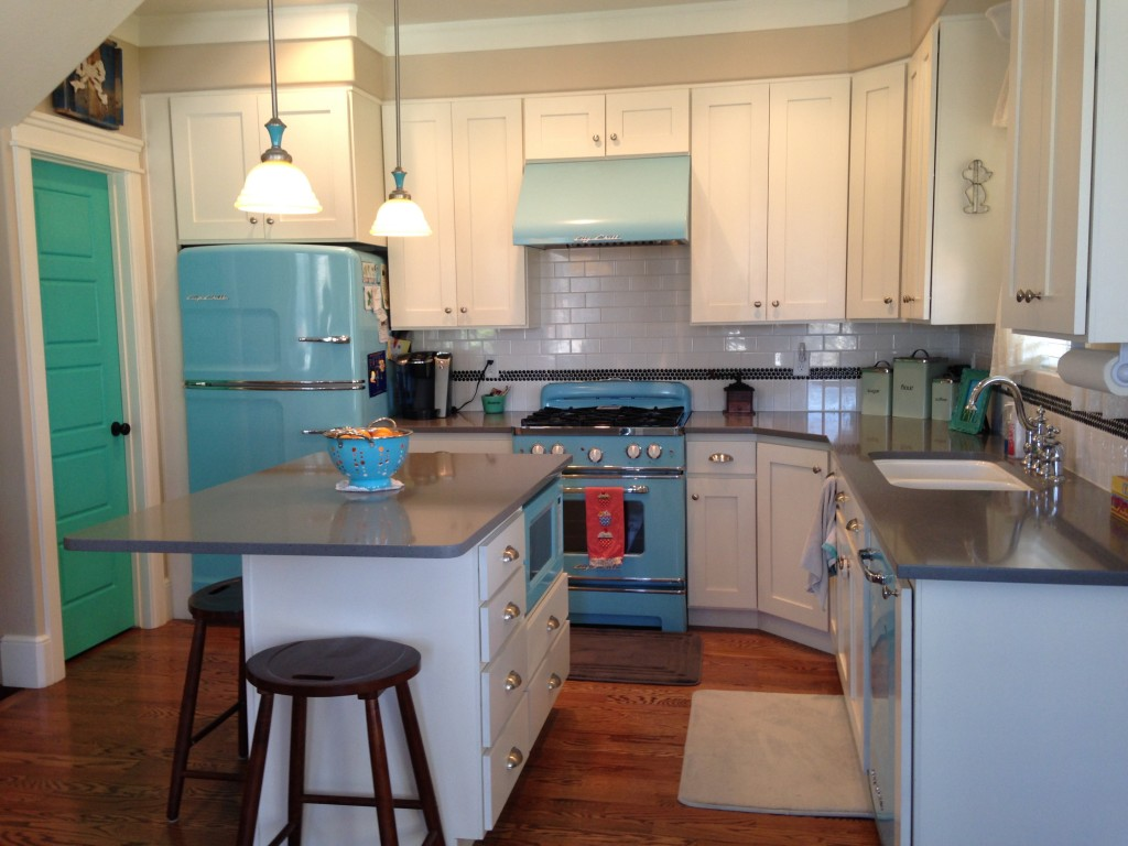 The Kitchen - Complete with blue retro-style appliances in the UP House in Utah