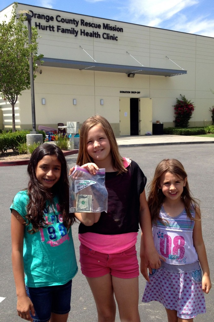 The latest summer philanthropic effor: My girls and a friend raised money towards The Orange County Resue Mission.