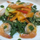 Healthy & Delicious: Roasted Shrimp Kale Salad with Pesto
