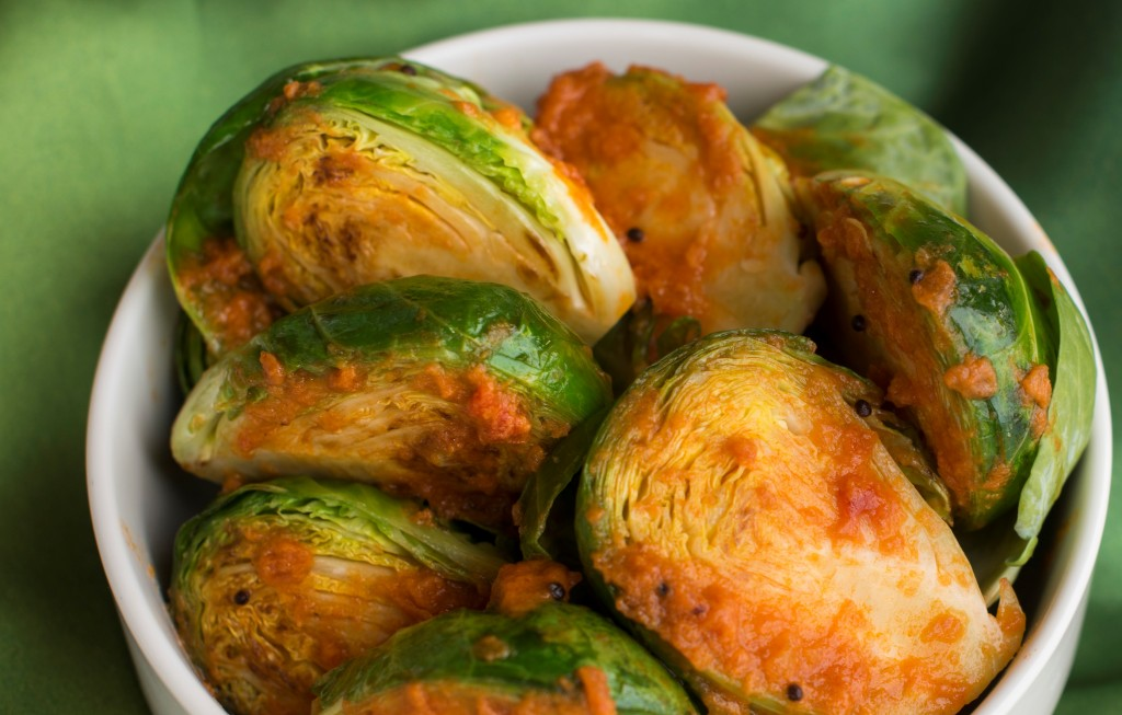 Choti Gobhi - Brussels Sprouts in Mustard Seed Curry