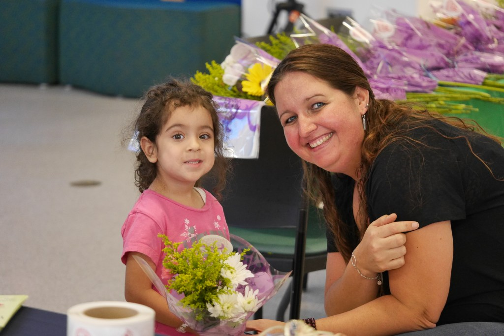 Prudence Palmer, 3 years old with Tina Nunes of Mother's Market