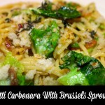 Soul Satisfying Spaghetti Carbonara With Brussels Sprout Leaves