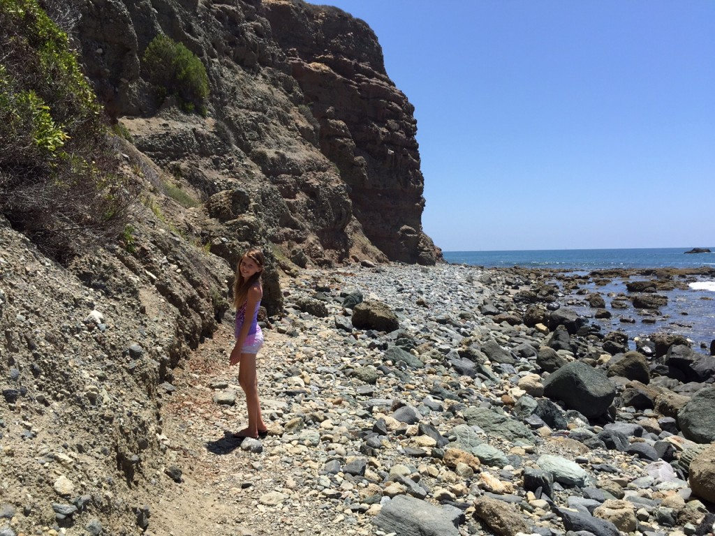 Walking along the path towards the sea caves in Dana Point