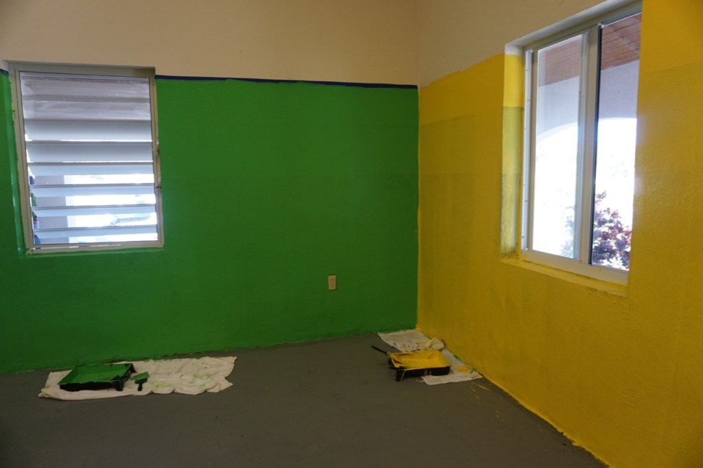 Almost done painting a classroom at a school in the Turks and Caicos #beachesmoms