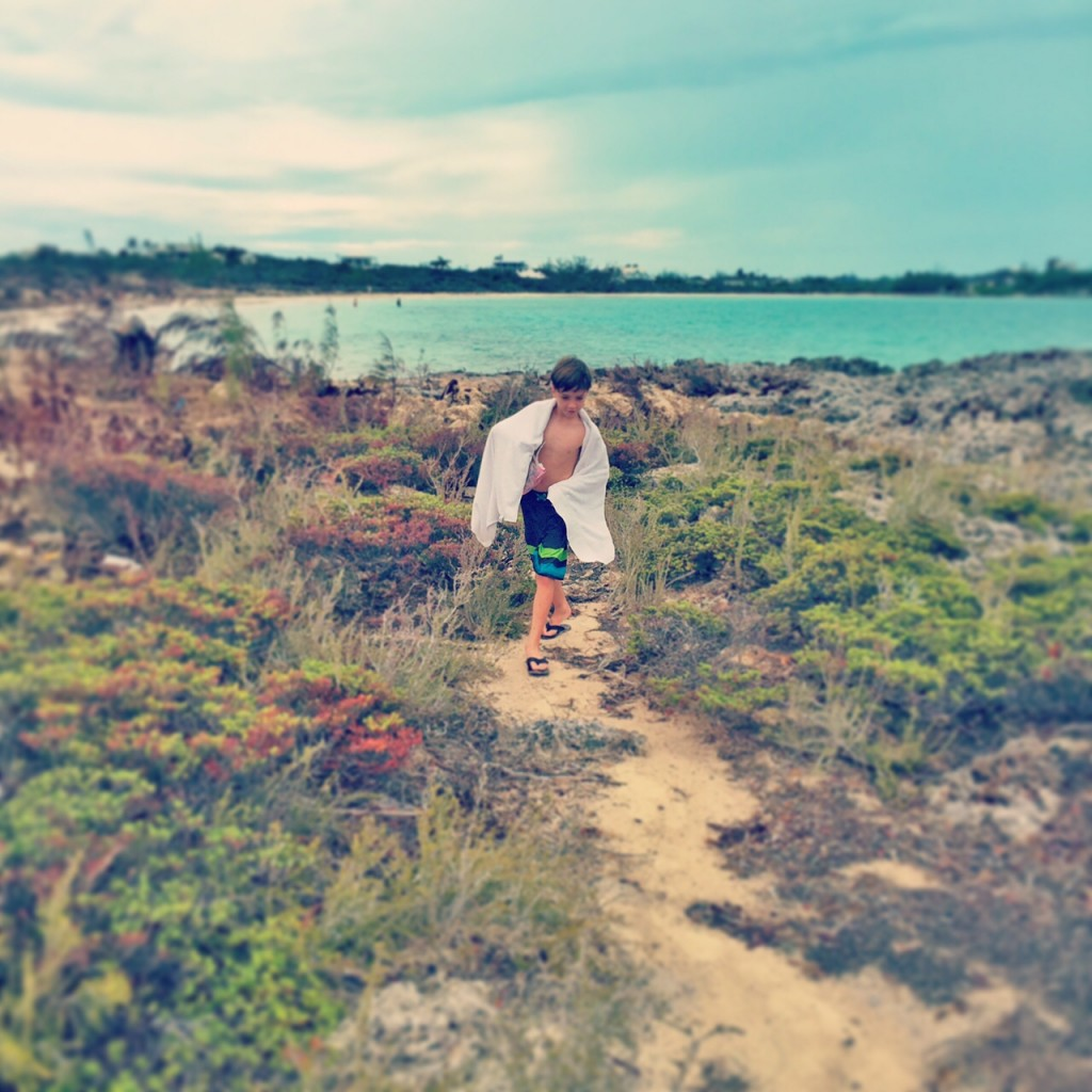 Hiking along a trail near Taylor Bay in the Turks and Caicos