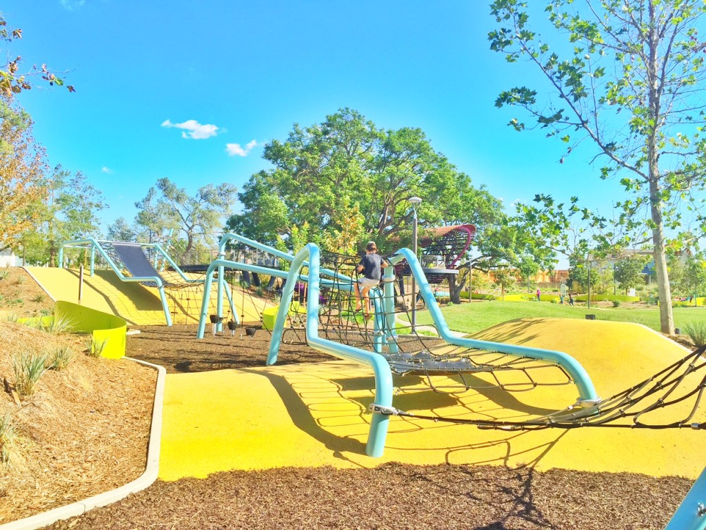 Giant obstacle Course at Tree House Park at Beacon Park in Irvine