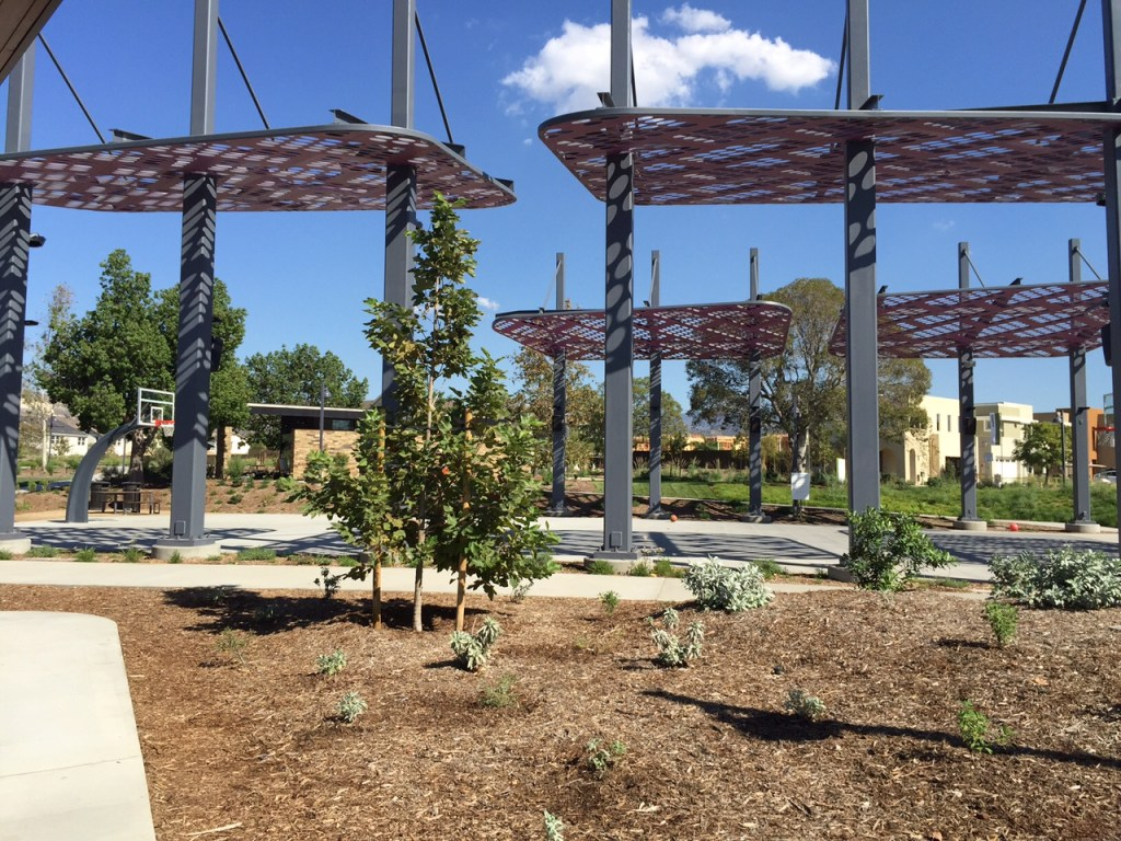 Shade over basketball courts at Beacon Park in Irvine