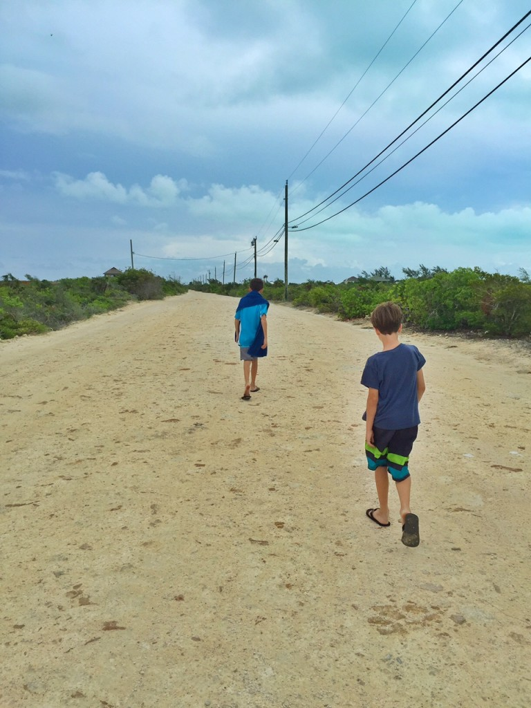 Walking along a dirt road in the Turks and Caicos