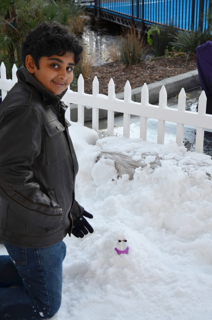 Building a snowman at Winter Wonderfest