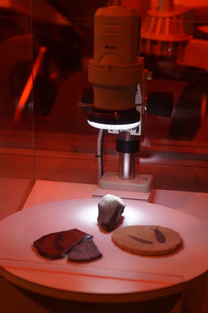 looking at space objects with a microscope