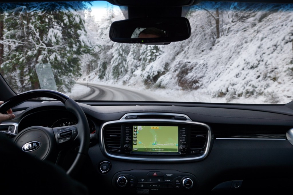 Driving the Sorento on the Snowy Roads