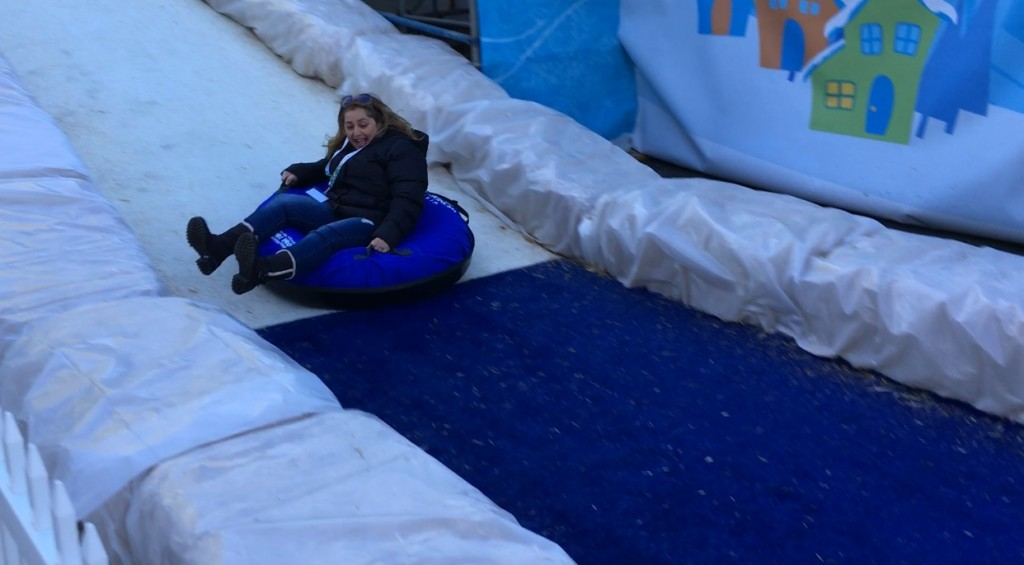 Mom Tubing at Winter Wonderfest at Discovery Cube OC