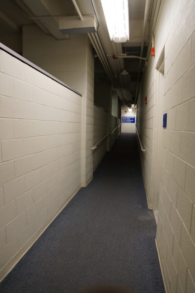 Hallway to the locker rooms of Ford Field