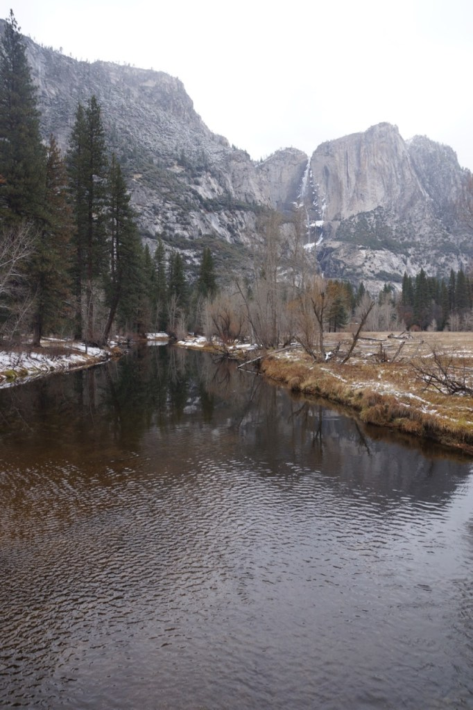 Snowing on water in Yosemite