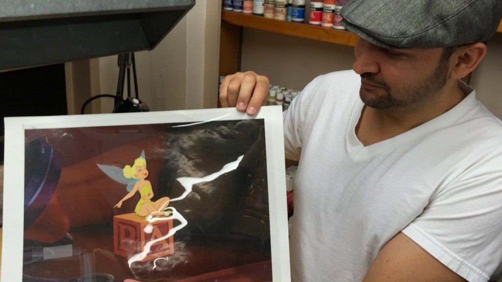 looking at a Tinkerbell animation cell