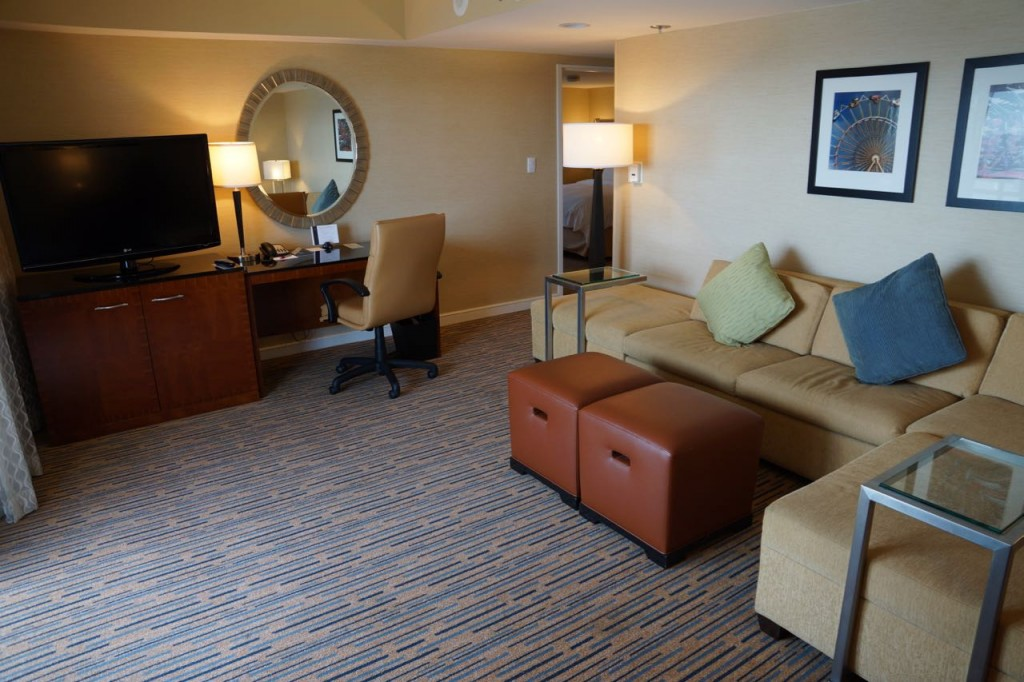 Family room in suite at Marriott Marquis San Diego Marina