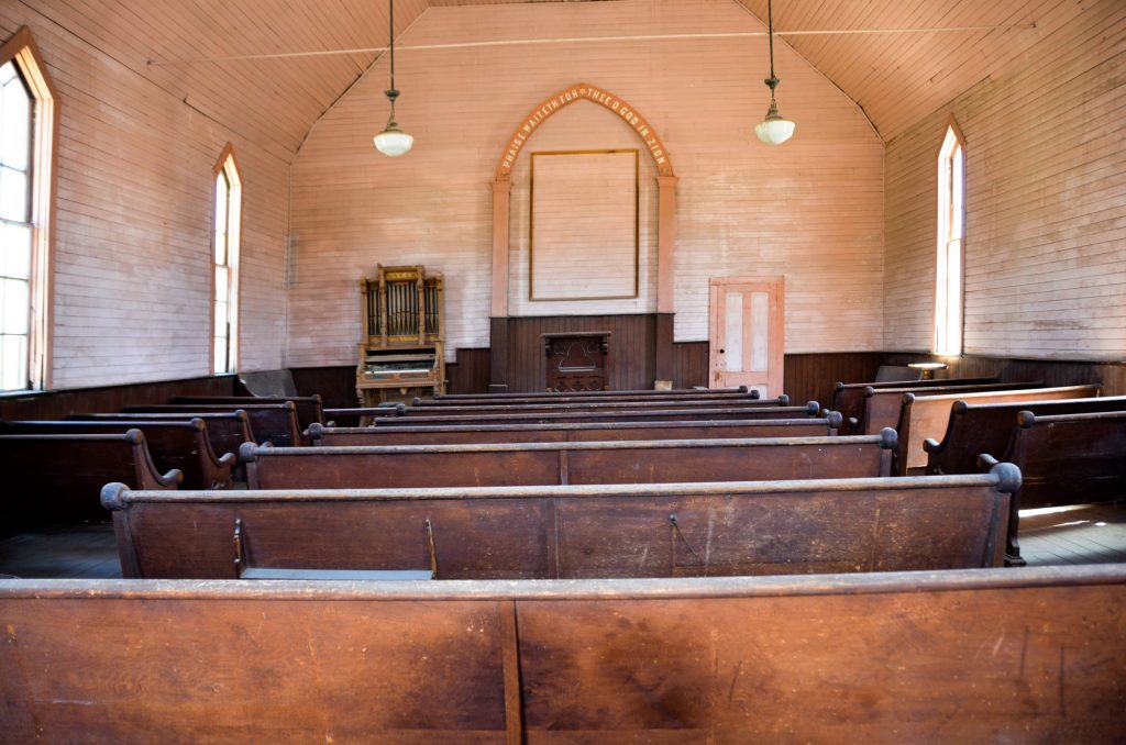 Inside the bodie church