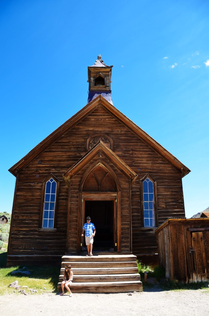 Standing in front of a church in Bodie