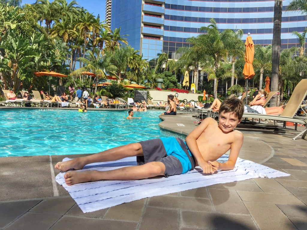 relaxing at the Marriott Marquis San Diego Marina pool