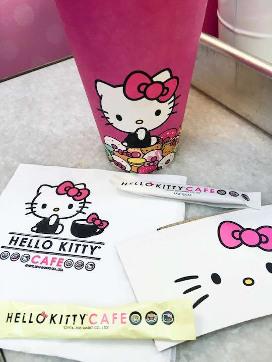 Cups and napkins from the Hello Kitty Cafe