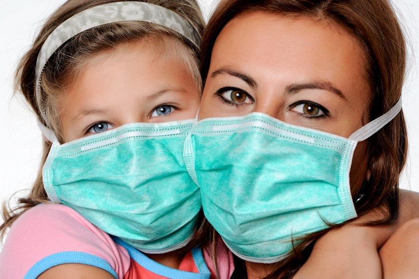 Virus risk, contagious danger,mum & dauther with mask