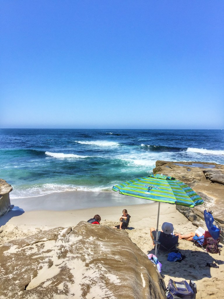 Relazing in a cove in La Jolla