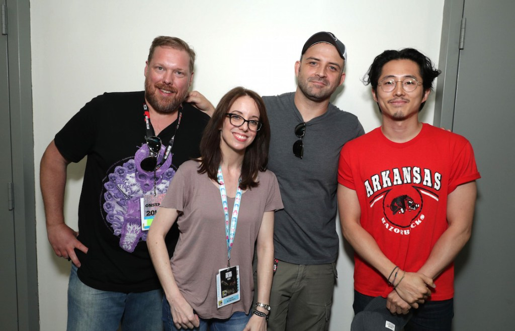 "Writer Tim Hedrick, Director Lauren Montgomery, Director Joaquim Dos Santos and Steven Yeun seen at DreamWorks Animation ""Voltron"" Panel at 2016 Comic-Con on Thursday, July 21, 2016, in San Diego, Calif. (Photo by Eric Charbonneau/Invision for DreamWorks Animation/AP Images)"