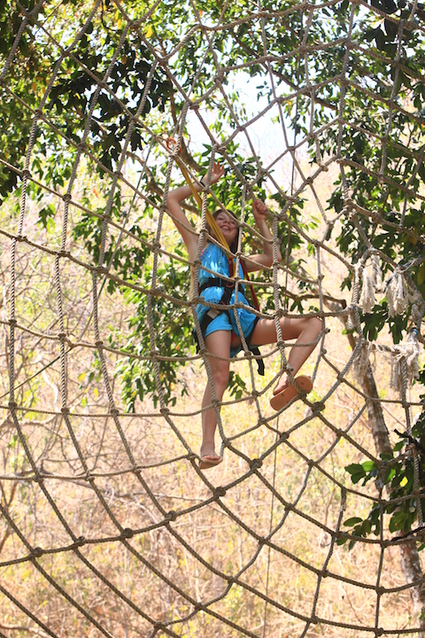 zip line to a giant spider web