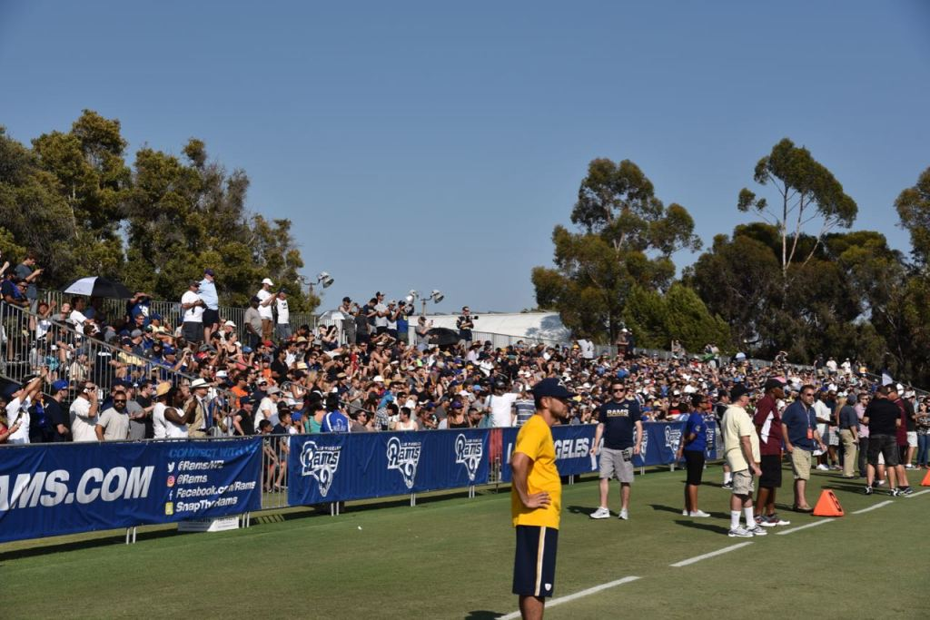 Fans cheering for the LA Rams